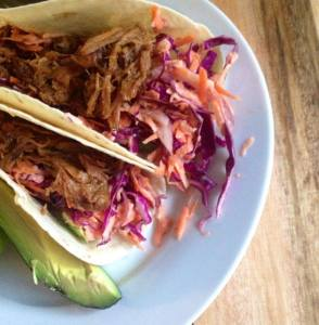 Pulled Pork in soft shell tacos with avocado and the Meat Maiden's favourite Horseradish slaw.